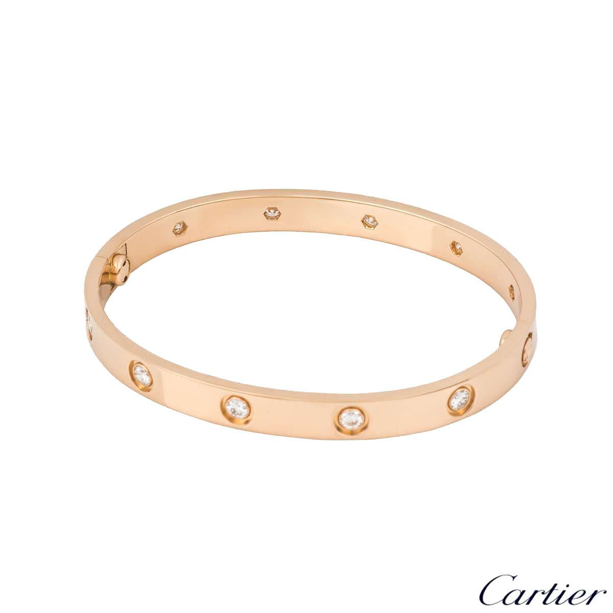 Cartier Rose Gold Full Diamond Love Bracelet Size 18 B6040618